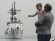 A US aid ship comes into view at the port of Batumi