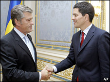 Victor Yushchenko meets David Miliband in Ukraine