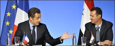 Nicolas Sarkozy and Bashar al-Assad at the Paris summit
