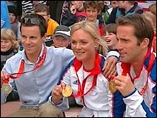 Nick Rogers, Pippa Wilson and Ben Ainslie