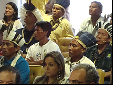 Indigenous Brazilians inside the country's Supreme Court