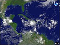 Imagen satelital de la tormenta Gustav