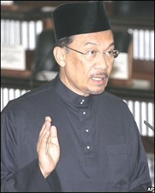 Malaysia's opposition leader Anwar Ibrahim being sworn into parliament, 28 August, 2008
