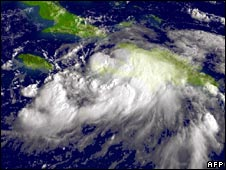 Tropical Storm Gustav above Haiti and the Dominican Republic