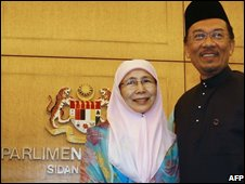 Anwar Ibrahim and his wife at Parliament House