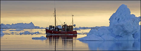 Fishing boat in ice