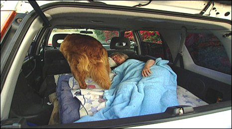 Barbara Harvey sleeps in her car