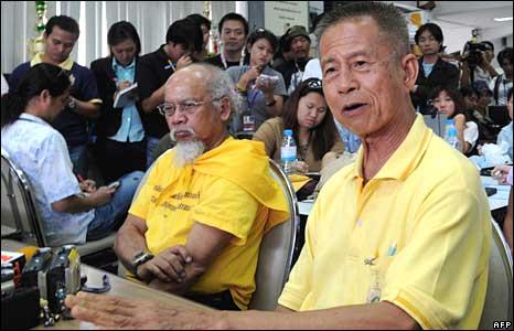 Chamlong Srimuang speaks to media in Government House, Bangkok, on Thursday