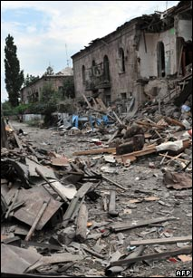 Bomb damage in the Georgian city of Gori after a Russian air raid in August 2008