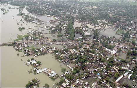 An aerial view of the flood-hit Madhepura in Bihar