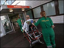 Patient being taken into A&E