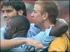 Vedrun Corluka and Joe Hart
