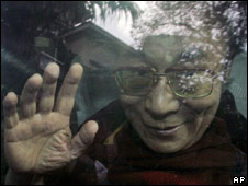 Dalai Lama arrives at Indian hospital, 28 Aug 2008