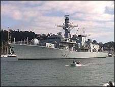 HMS Argyll in the River Dart. Picture: Geoff Burrell