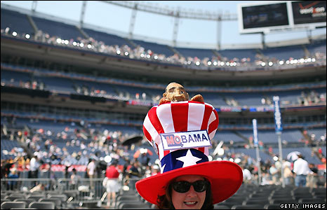An Obama supporter at Invesco Field