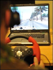 Soldier using military training simulator