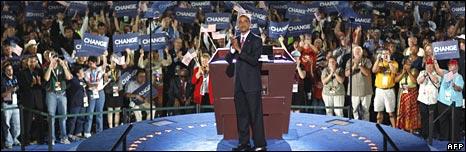 Barack Obama speaks at the Denver Broncos stadium on 28 August 2008