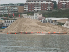 Dredged sand on Bournemouth beach