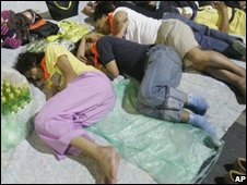 Protesters sleeping in the compound of Government House, 29 Aug