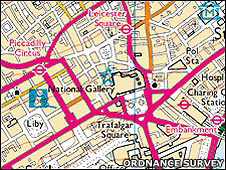 Ordnance Survey map of central London. BBC licence number 100019855, 2008.