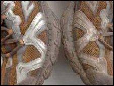 a clean shoe, a dirty shoe