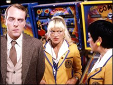 Simon Cadell as Jeffrey Fairbrother, Nikki Kelly as Sylvia Garnsey and Ruth Madoc as Gladys Pugh in the second series of Hi-De-Hi!