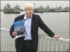 Boris Johnson near the Thames Barrier launching his climate change strategy