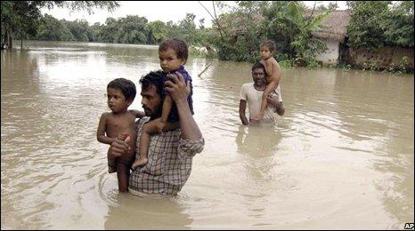 Flood victims in Bihar's Madhepura district