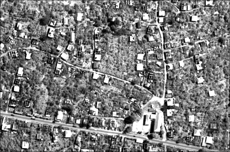 Unosat image showing destruction in Kekhvi, Georgia
