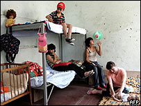 Refugiados georgianos de Abjasia y Osetia del Sur, en Tiflis.