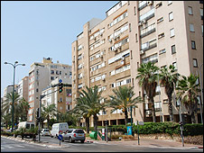 Street in Netanya, showing building where Ronny Ron lives (right)