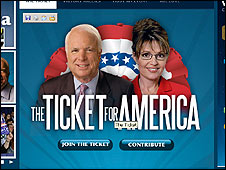 John McCain and Sarah Palin side by side on his election website