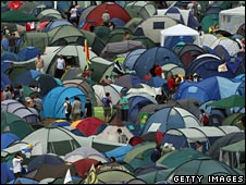 Crowded campsite at Glastonbury