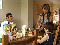 Samantha with her child and student lodger