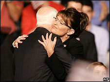 Sarah Palin hugs John McCain on stage in Dayton