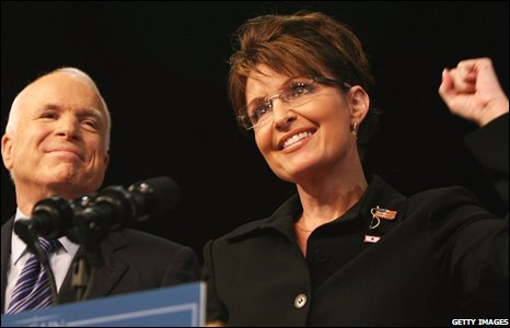 John McCain and Sarah Palin on stage in Dayton