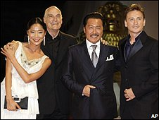 (Left to right) Inju actor Lika Minamoto, director Barbet Schroeder and actors Ryo Ishibashi and Benoit Magimel.