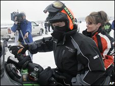 Todd and Sarah Palin at the Iron Dog snow mobile race, Big Lake, Alaska