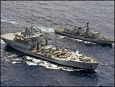 HMS Iron Duke with RFA Wave Ruler in the foreground (copyright: Royal Navy/MoD)
