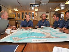 Iron Duke's command team looking into possible planning in case Hurricane Gustav hits a UK Overseas Territory (copyright: Royal Navy/MoD)