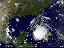 A satellite photo shows Gustav just off Cuba at 1055 GMT on 30 August
