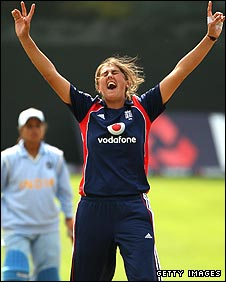 Jenny Gunn takes a wicket for England