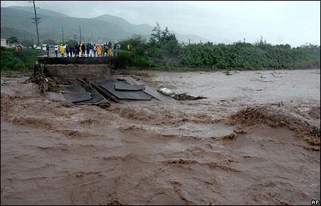 A bridge lies in ruins in Kingston, Jamaica, on 29 August