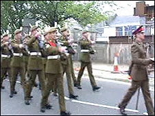 Members of 2nd Battalion The Royal Welsh march through Bridgend