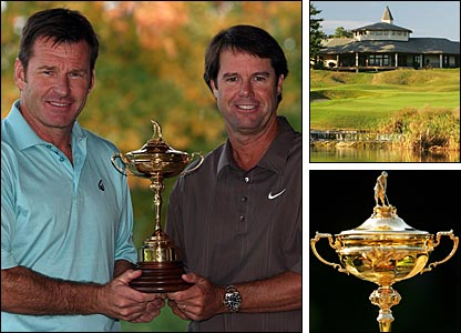 European captain Nick Faldo (left) and American counterpart Paul Azinger