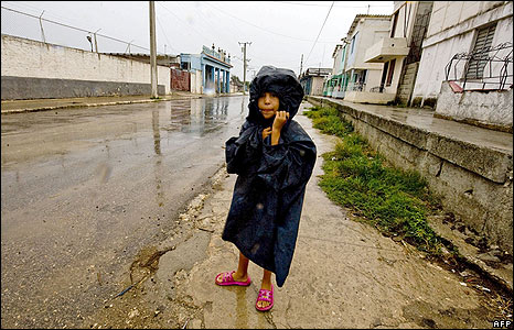 A Cuban girl waits to be evacuated in Surgidero de Batabano, Cuba