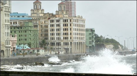 Waves crash over the Malecon, Havana
