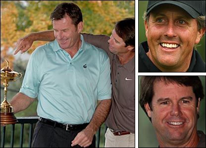 Left: European Ryder Cup captain Nick Faldo (left) and US counterpart Paul Azinger. Top right: Phil Micklelson. Bottom right: Paul Azinger