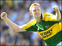 Colm Cooper celebrates after scoring Kerry's third goal