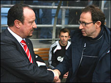 Liverpool boss Rafa Benitez (left) and Martin O'